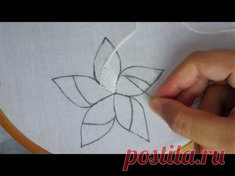 hand embroidery: buttonhole stitch flower,modern flower embroidery