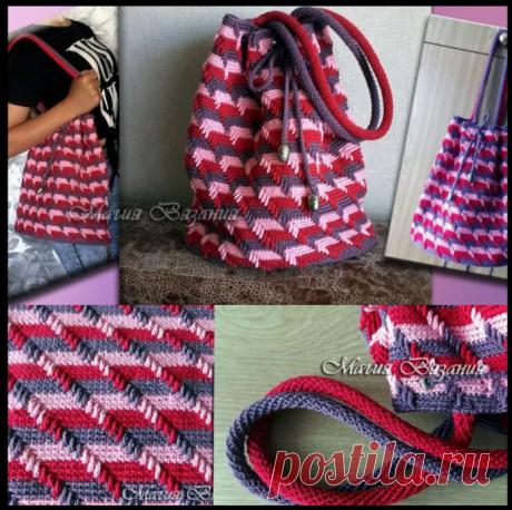 Модная сумочка крючком - делюсь мастер-классом по вязанию