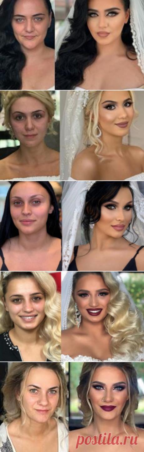 📸 Удивительные фото невест до и после свадебного макияжа  👸