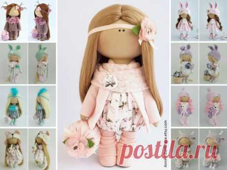 Fabric Doll, Decor Doll, Interior Doll, Nursery Doll, Handmade Doll, Pink Soft Doll, Tilda Doll, Rag Doll, Special Doll for Girl by Irina B Hello, dear visitors!  This is handmade cloth doll created by Master Irina B. (Kiev, Ukraine). Doll is 28 cm (11.02 inch) tall and made of only quality materials. All dolls stated on the photo are mady by Irina B. You can find them in our shop searching by artist name: