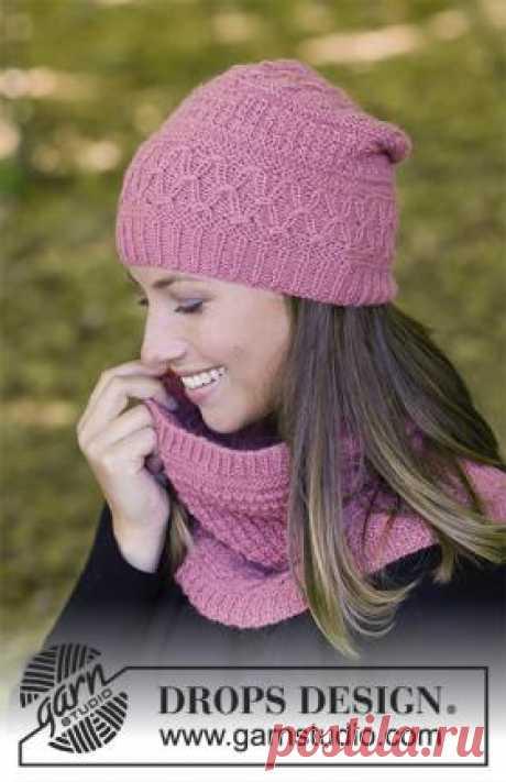 Комплект малиновый трюфель Чудесный комплект спицами для женщин, связанный из нежной шерсти альпаки. Вязание шапки выполняется по кругу, начиная от макушки, снуд также...
