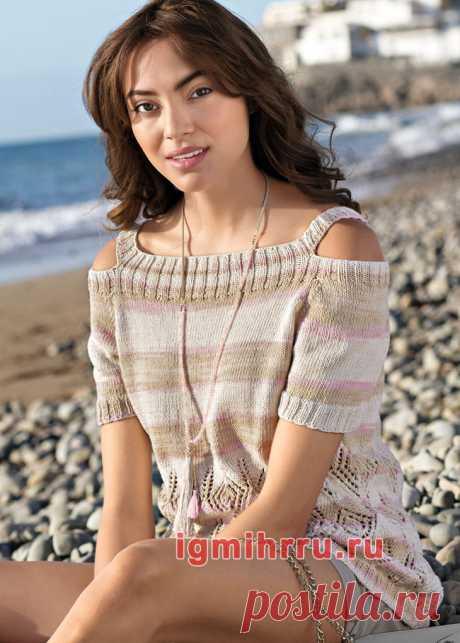 Пуловер с ажурным узором и открытыми плечами. Вязание спицами со схемами и описанием