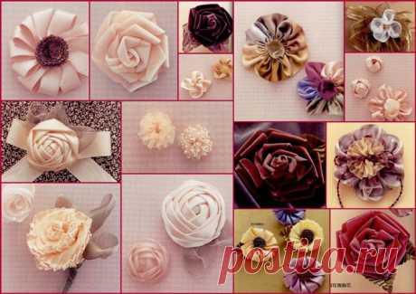 Изготовление цветов из лент.