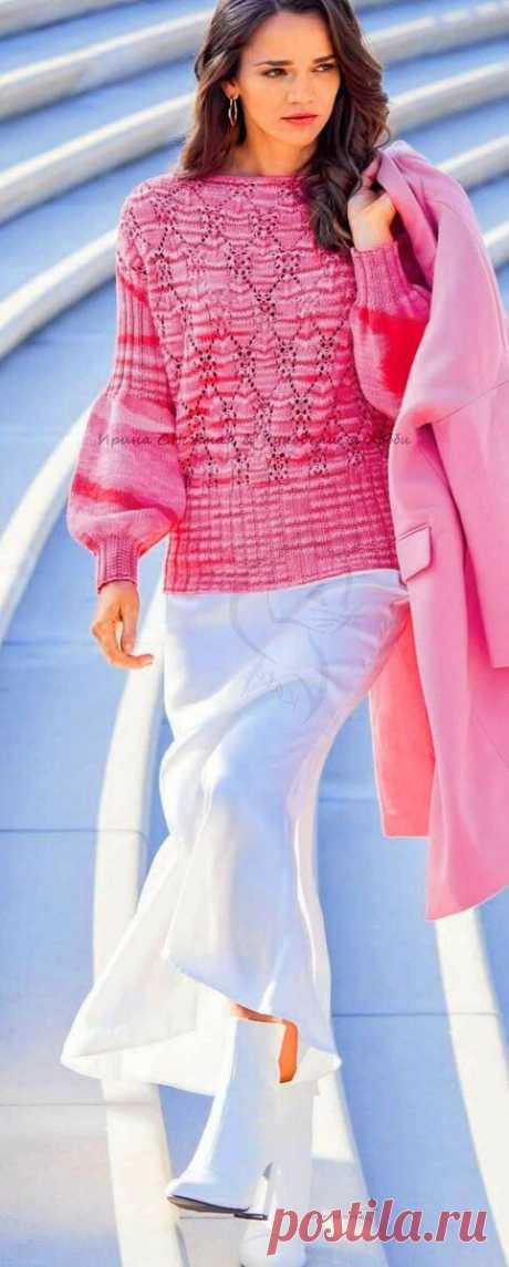 Февральский сабриновский хит 2021 - ажурные пуловеры в розовых, красных оттенках | Ирина СНежная & Вязание | Яндекс Дзен