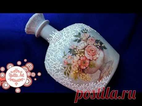 Bottle decor. Lacy list. How to make a decoupage? We study together