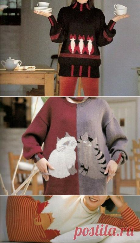 Кошки, очарование мое – схемы для вязания интарсии.   Вязалки Веселого Хомяка   Яндекс Дзен