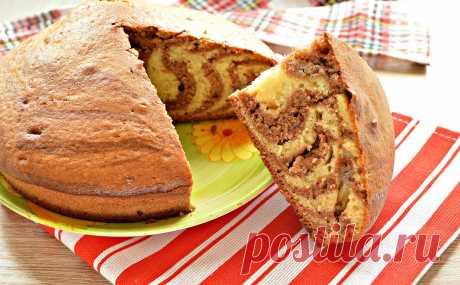 Пирог «Зебра» на кефире и растительном масле - рецепт с фото пошагово