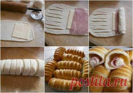 Простая и вкусная идея, слоеное тесто + ветчина + сыр = вкусняшка