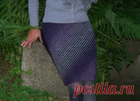 Вязаная юбка в диагональную полоску. - Все о вязании