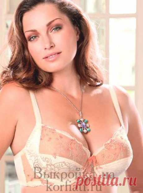 Bra pattern from Anastasia Korfiati Vykroyka of a bra with wide shoulder straps. Design features of a bra are that shoulder straps pass into a cup, giving convenience at a big breast.