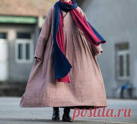 Winter maxi dress Women plus velvet Dresses Loose Fitting | Etsy