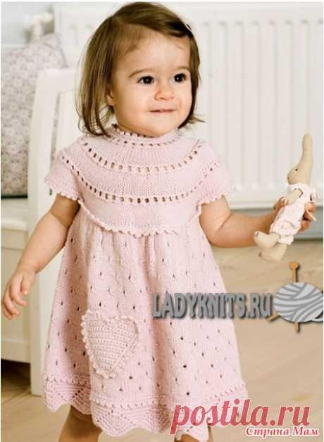 Розовое платье спицами с круглой кокеткой - Вяжем вместе он-лайн - Страна Мам