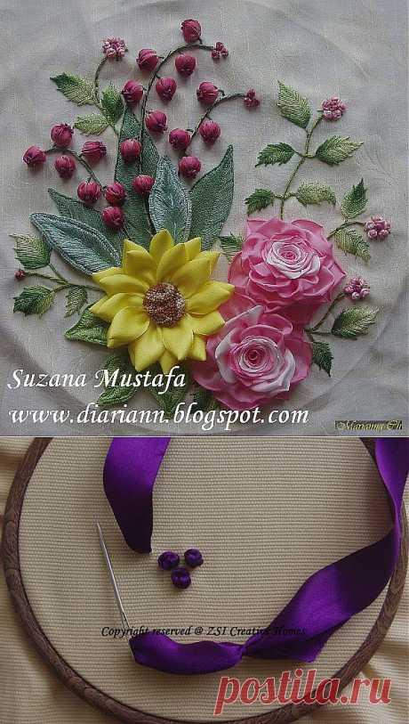 Мини мастер-классы по цветам из  лент и пряжи ... пошаговые фото....