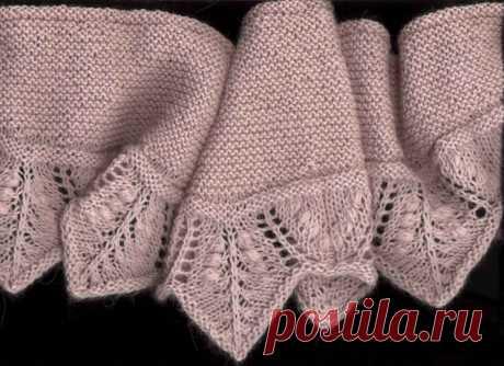 Узкая шаль-шарф модной формы с ажурной каймой (Вязание спицами) – Журнал Вдохновение Рукодельницы
