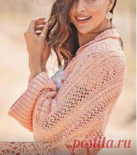 Укороченный пуловер, связанный поперек схема спицами