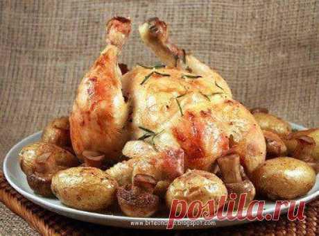Курица, запечённая с грибами Ингредиенты: