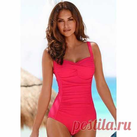 Новинка 2021, Цельный купальник размера плюс, женский классический винтажный купальник, пляжная одежда с открытой спиной, тонкая одежда для плавания M ~ 2XL | Спорт и развлечения | АлиЭкспресс