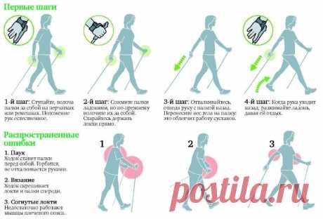 Правильная техника скандинавской ходьбы.