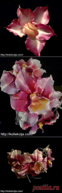 Орхидея из атласной ленты..