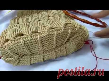 Crochet embossed leaves stitch bag part 9