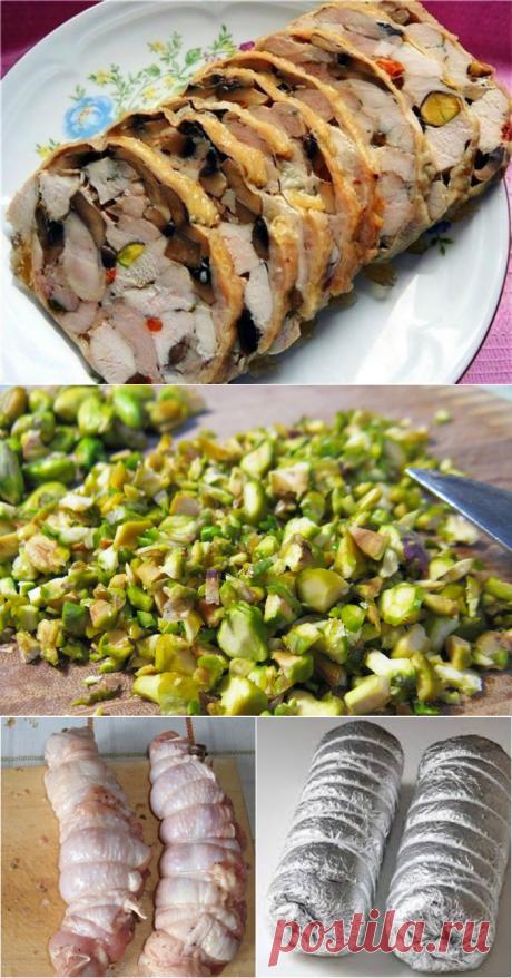 Куриный рулет с грибами     Вот как сделать из обычной курицы нечто особенное: готовится элементарно, а результат — загляденье!
