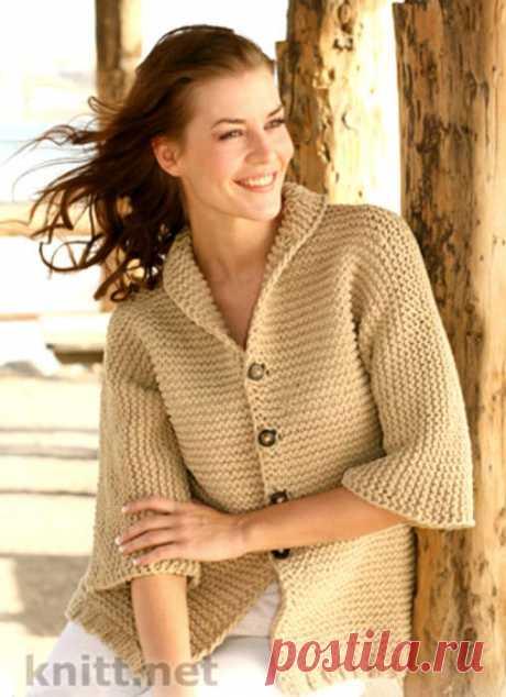 Жакет платочной вязкой с рукавами ¾.