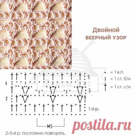 Двойной веерный узор Несложный и очень декоративный узор, в котором ряды простых веерочков чередуются с рядами филейной сетки.
