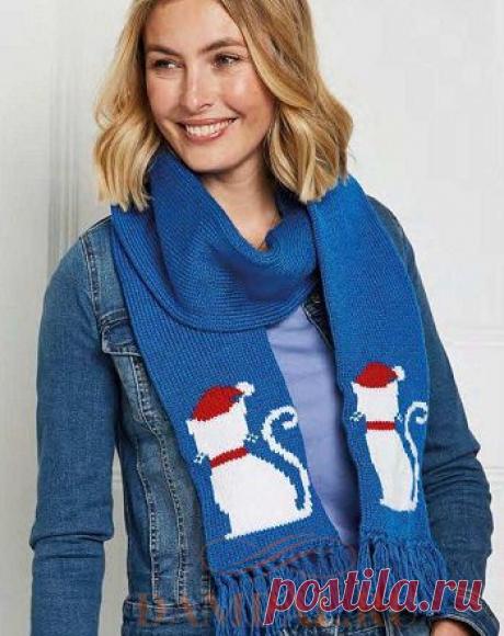 Новогодний шарф с кошками   DAMские PALьчики. ru