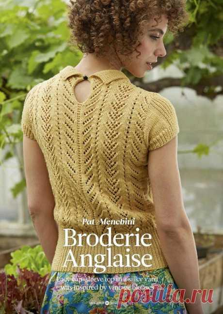 Ажурная кофточка спицами Broderie Anglaise Винтажная ажурная кофточка спицами Broderie Anglaise от дизайнера Pat Menchini. Для вязания этой ажурной кофточки спицами Вам потребуется.