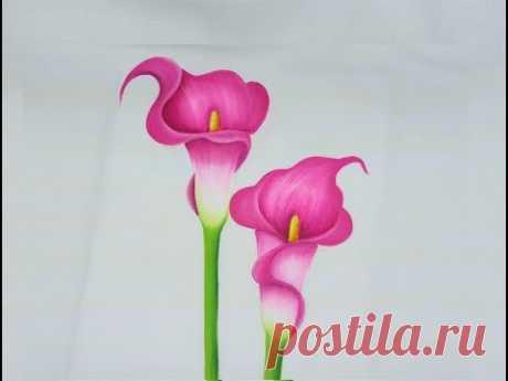Pintura En Tela Como Pintar Flores Alcatraces Rosas