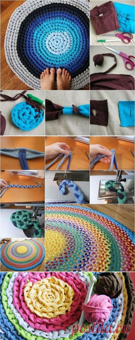 Как изготовить коврики из старых футболок своими руками?