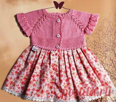 Комбинированное платье для девочки / Вязание как искусство!