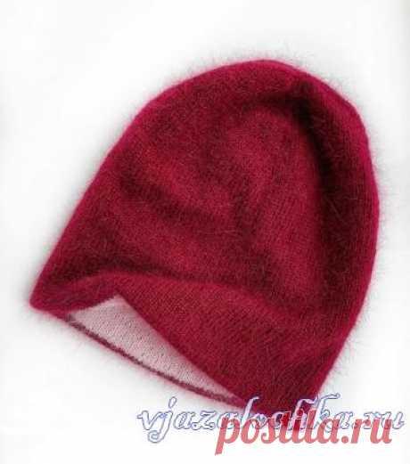Двусторонняя шапка спицами из пуха норки