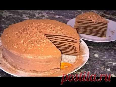 Блинный торт.Торт из блинов со сгущенкой.Шоколадный торт рецепт.Торт на сковороде.Шоколадные блины.