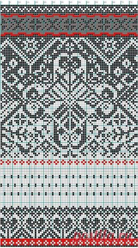 Зимние норвежские жаккардовые узоры спицами ~ Свое рукоделие