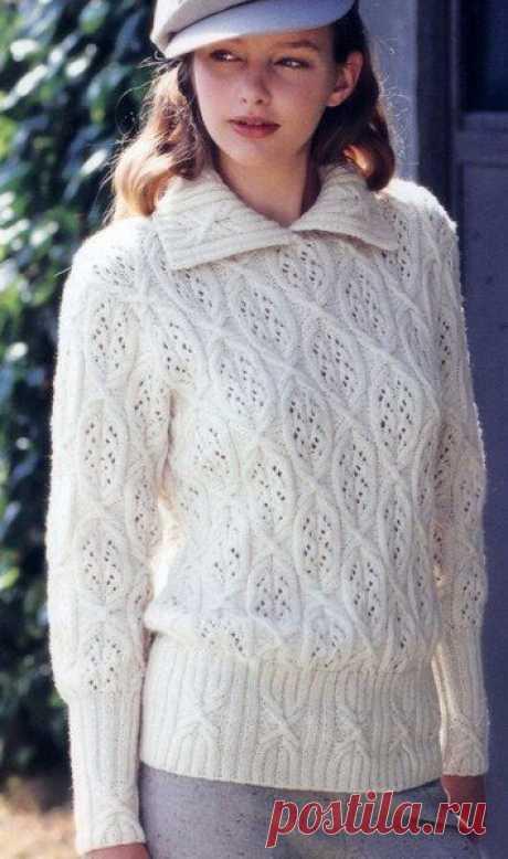 Вязаный пуловер с красивыми узорами — HandMade
