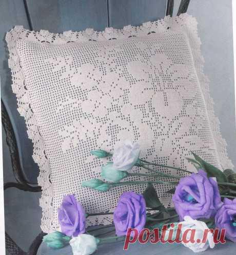 Подушка филейным узором цветы. Вязание крючком наволочек на подушки схемы. | Я Хозяйка