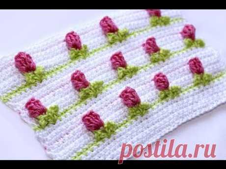 "Вязание крючком. Crochet. Узор 1  ""Розочки"" Часть 1"