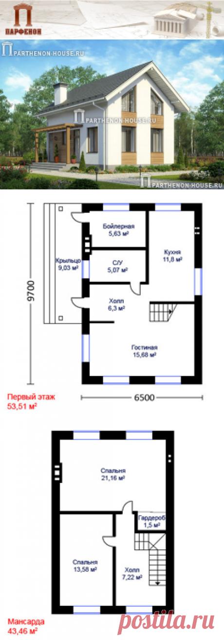 Проект небольшого дома из блоков газобетона ПА-87Г  Терраса: да. Котельная-бойлерная: да. Гардеробная: да.   Площадь общая: 87,94 кв.м. + 9,03 кв.м. Высота 1 этажа: 2,800 м. Высота 2 этажа: от 1,700 м. до 2,800 м.   Технология и конструкция: строительство дома из газобетона.