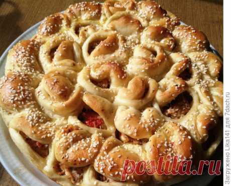 """Отрывной мясной пирог """"Хризантема"""". Пеку его очень часто"""