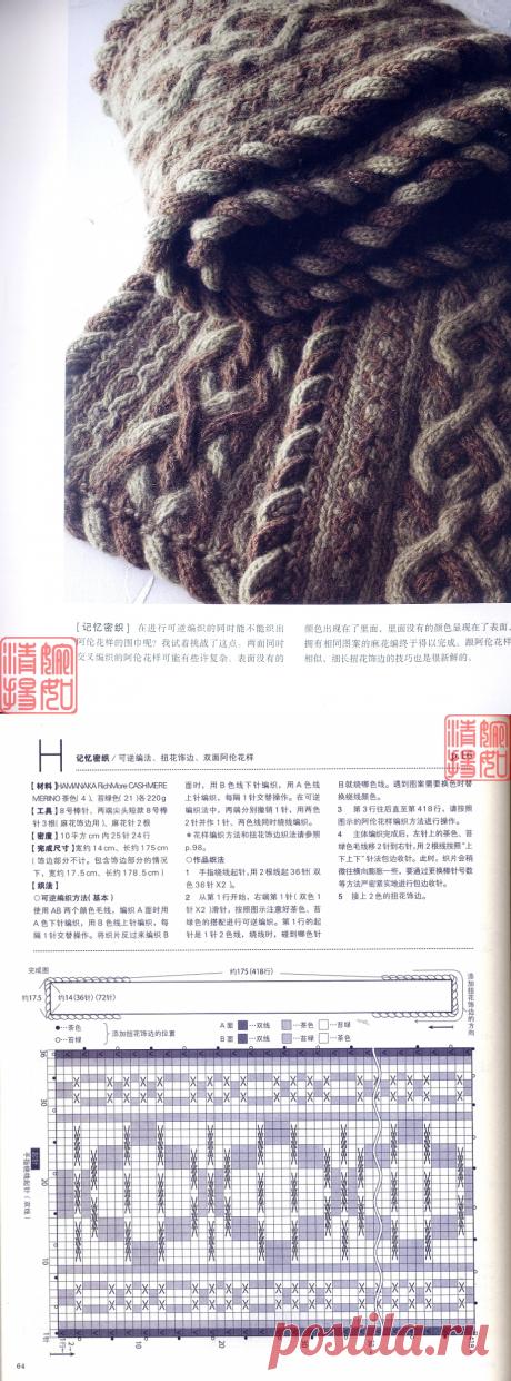 Двухцветный шарф. Вязание спицами.