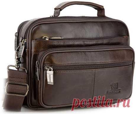 Мужские кожаные сумки, портфели, барсетки с ремнём через плечо