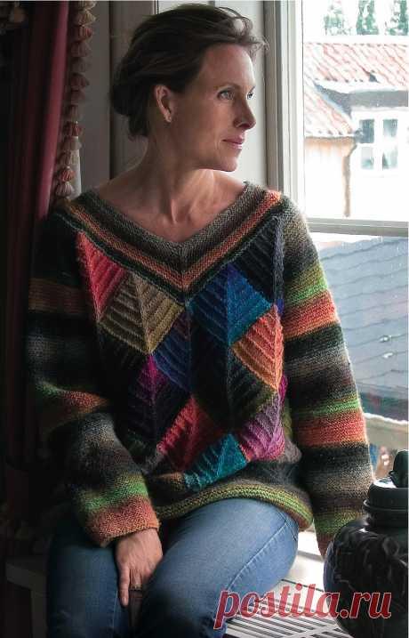 """Классический пуловер в технике """"домино"""", для пряжи с длинными секциями."""