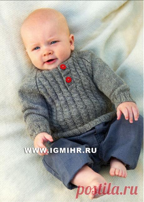 Мягкий и уютный пуловер-реглан с косами для малыша, от финских дизайнеров. Спицы