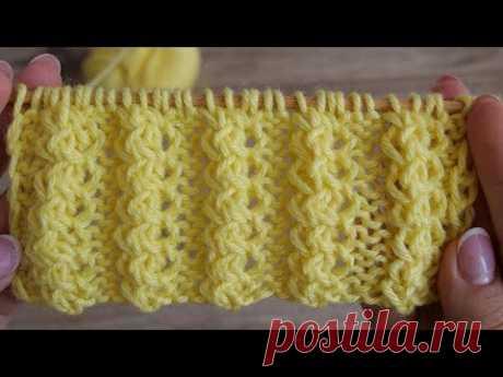 Объёмная декоративная резинка спицами | Volumetric decorative rib knitting pattern
