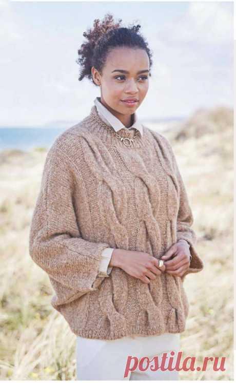 Пуловер спицами с узором из крупных кос - Портал рукоделия и моды