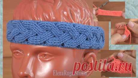 📺 Аранское вязание: повязка на голову крючком с узором косички   Студия Елены Ругаль Вязание   Яндекс Дзен