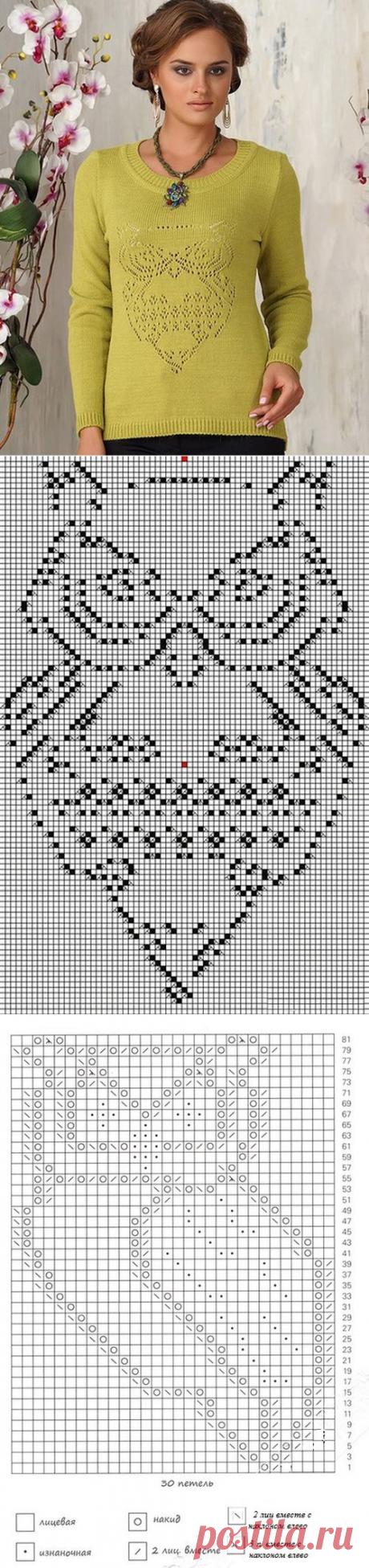 Ажурный узор сова спицами схема | Ажурные Узоры