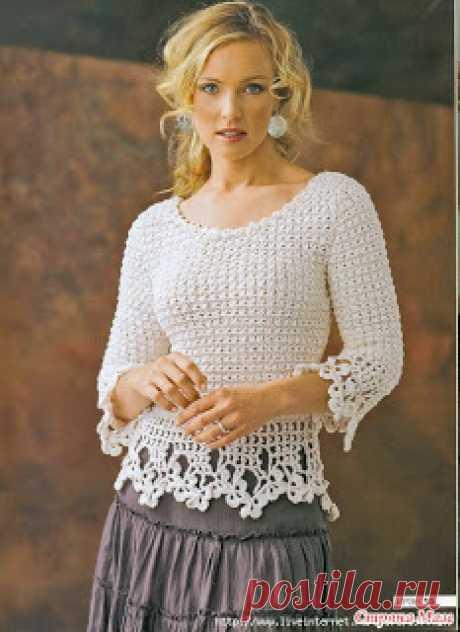 """"""" MOSSITA BELLA PATRONES Y GRÁFICOS CROCHET """": Blusa en crochet elgante hilo blanco!"""