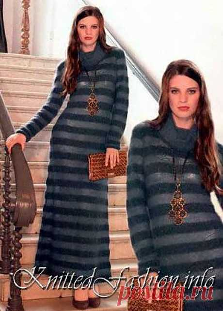 Long dress with a collar - KnittedFashion.info